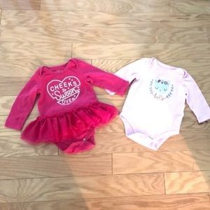 Two Baby Girl Pink Long Sleeve Onesies 3-6 months